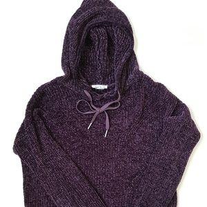 GARAGE Purple Cropped Hooded Sweatshirt
